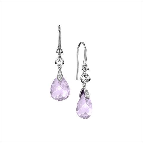 Icona Amethyst Earrings in Sterling Silver with Diamonds