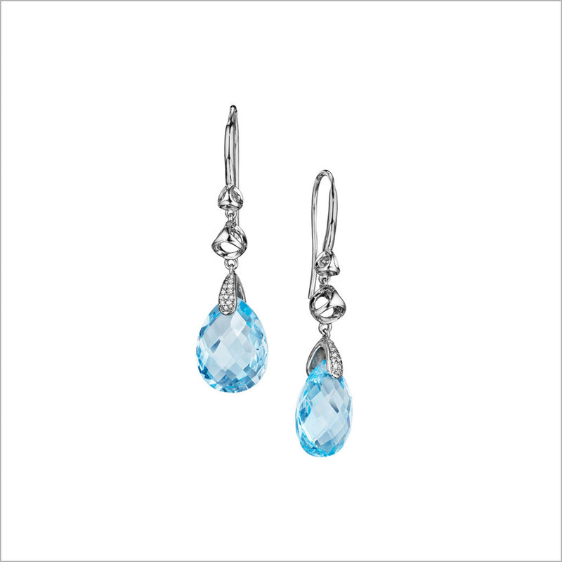 Icona Blue Topaz & Diamond Drop Earrings in sterling silver plated with rhodium