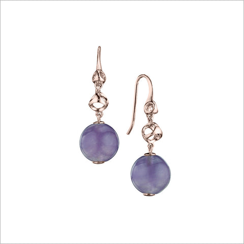 Icona Amethyst Drop Earrings in Sterling Silver plated with 18K Rose Gold