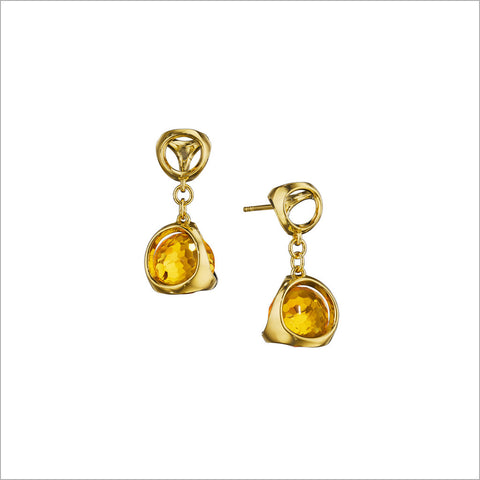Icona Citrine Earrings in Sterling Silver plated with 18k Gold