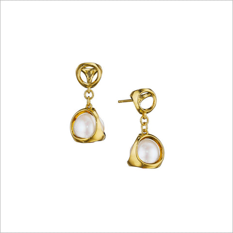 Icona Pearl Earrings in Sterling Silver plated with 18K Yellow Gold