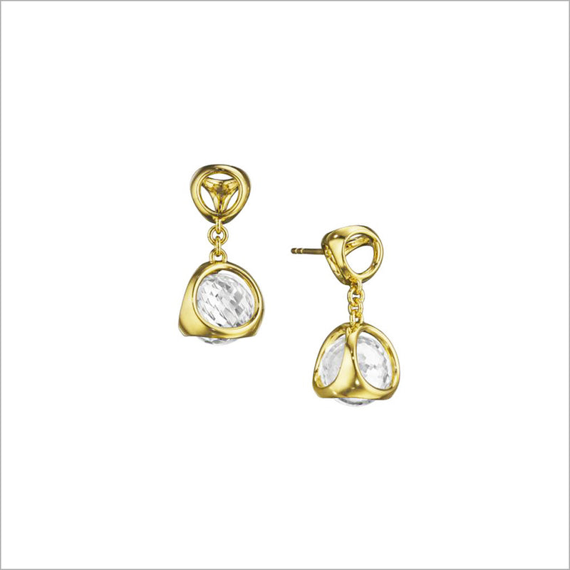 Icona Rock Crystal Earrings in Sterling Silver plated in 18k Gold