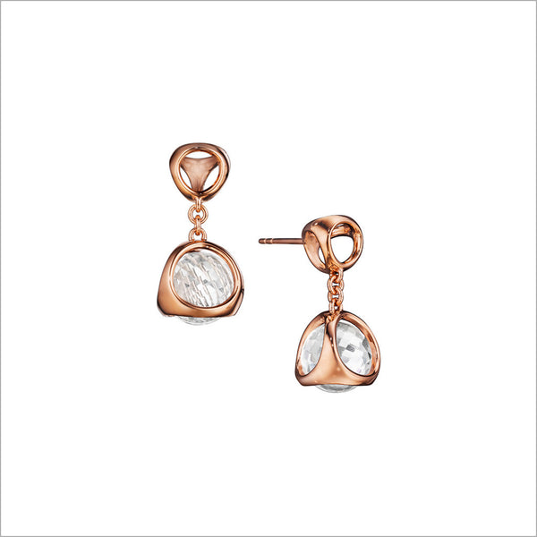 Icona Rock Crystal Earrings in Sterling Silver Plated with Rose Gold