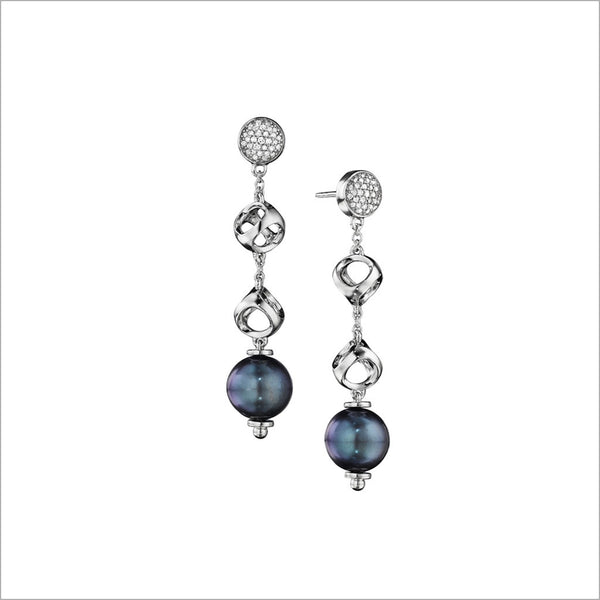 Icona Black Pearl & Diamond Dangle Earrings in Sterling Silver