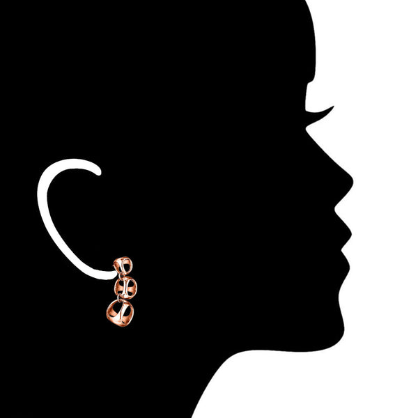 Icona 3-Cage Earrings in Sterling Silver Plated with Rose Gold