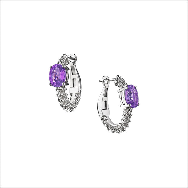 Icona Eternity Amethyst Earrings in sterling silver plated with rhodium
