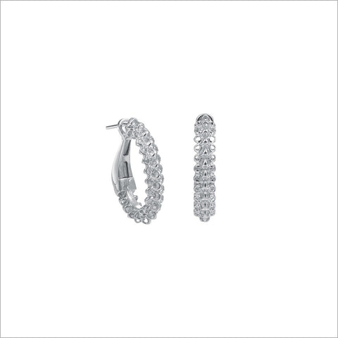 Icona Eternity Silver Large Huggie Earrings in sterling silver plated with rhodium