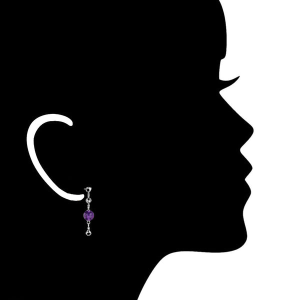 Icona Amethyst Dangle Earrings in Sterling Silver