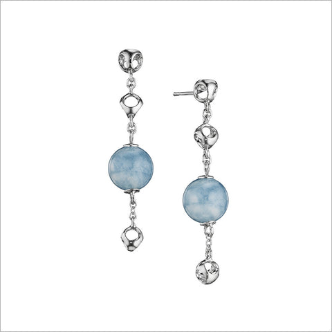 Icona Aquamarine Dangle Earrings in Sterling Silver