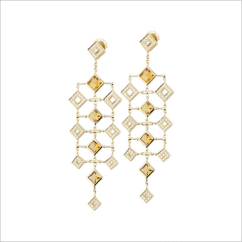 Quadria 18K Yellow Gold & Citrine Earrings with Diamonds