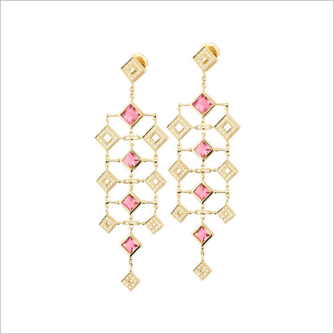 Quadria 18K Yellow Gold & Rhodolite Garnet Earrings with Diamonds