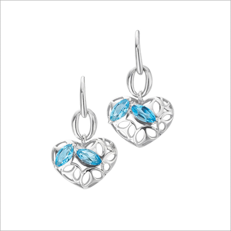 Medallion Blue Topaz Heart Earrings in Sterling Silver