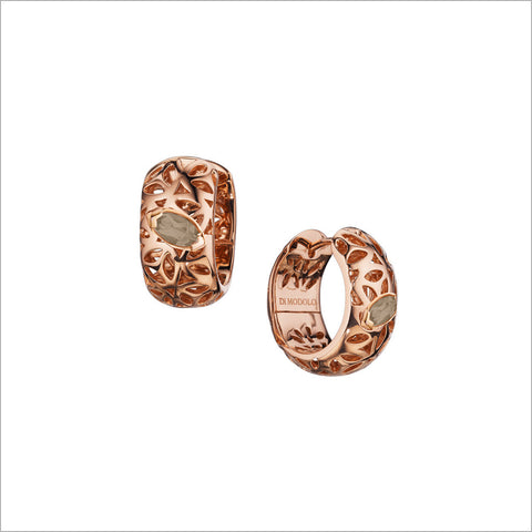 Sahara Smoky Quartz Huggie Earrings in Sterling Silver plated with 18k Rose Gold