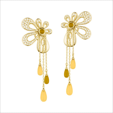 Fiamma 18K Yellow Gold & Citrine Earrings with Diamonds
