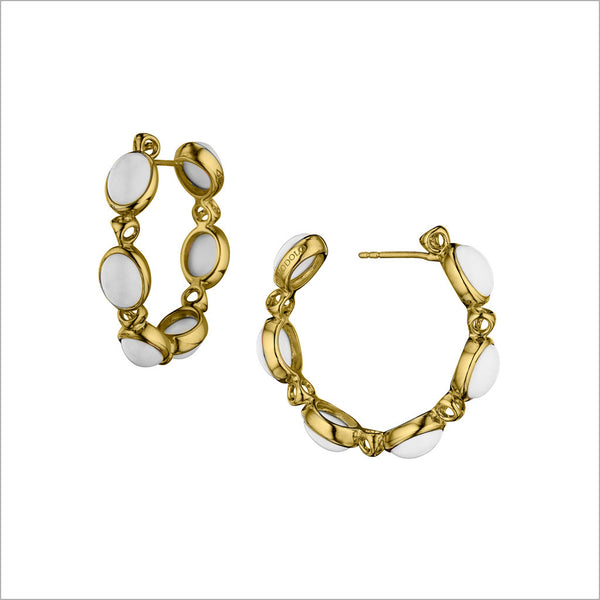 Lolita White Agate Hoop Earrings in Sterling Silver plated with 18k Yellow Gold