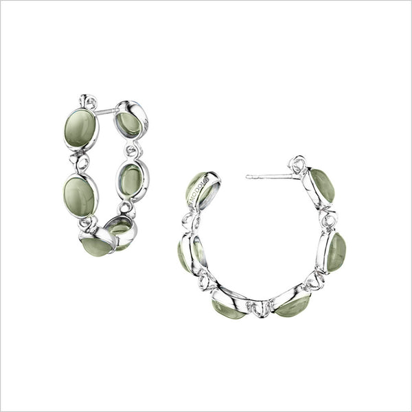 Lolita Green Amethyst Hoop Earrings in Sterling Silver
