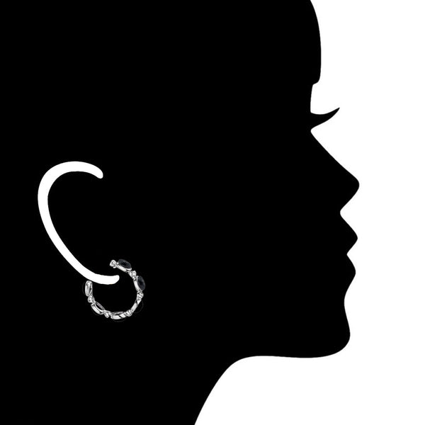 Lolita Black Onyx Hoop Earrings in Sterling Silver