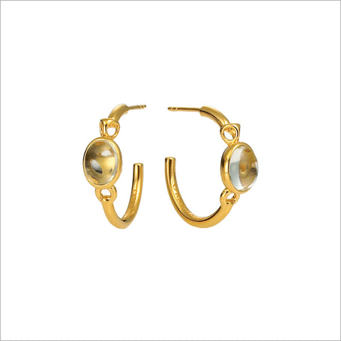 Lolita Green Amethyst Hoop Earrings in Sterling Silver plated with 18k Yellow Gold