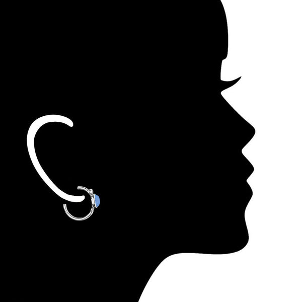 Lolita Blue Topaz Hoop Earrings in Sterling Silver