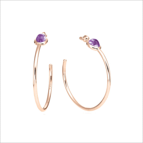 Lolita Amethyst Hoop Earrings in Sterling Silver plated with 18k Rose Gold