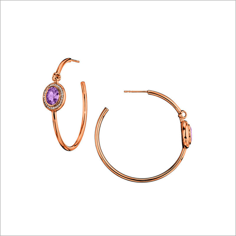 Lolita Amethyst & Diamond Hoop Earrings in Sterling Silver Plated with 18k Rose Gold