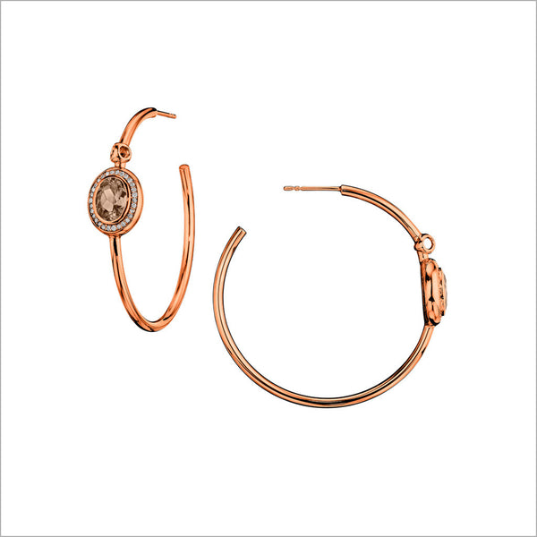 Lolita Smoky Quartz & Diamond Hoop Earrings in Sterling Silver plated with 18k Rose Gold