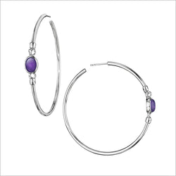 Lolita Amethyst Hoop Earrings in Sterling Silver