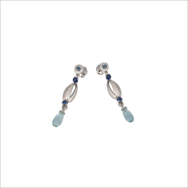 Triadra 18K Gold & Blue Aquamarine Earrings with Diamonds