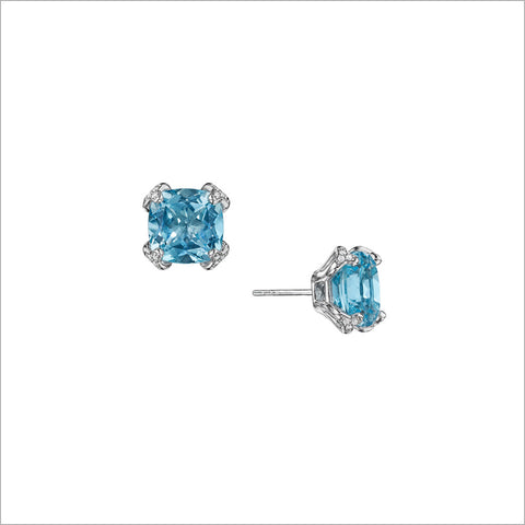 Soiree Silver & Blue Topaz Diamond Stud Earrings
