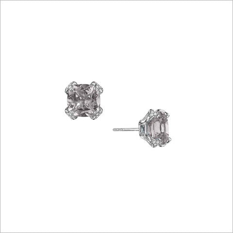 Soiree Silver & Rock Crystal Quartz Diamond Stud Earrings