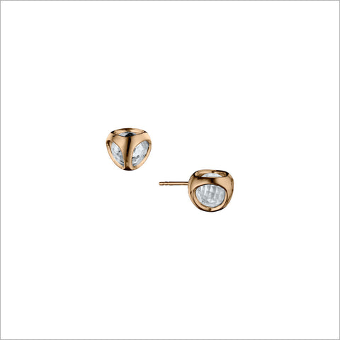 Icona Rock Crystal Stud Earrings in Sterling Silver Plated with 18k Rose Gold