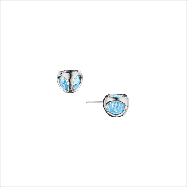 Icona Blue Topaz Stud Earrings in sterling silver plated with rhodium