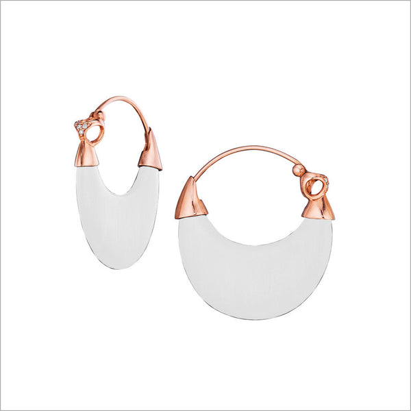 Sahara White Agate Earrings in Sterling Silver plated with 18k Rose Gold