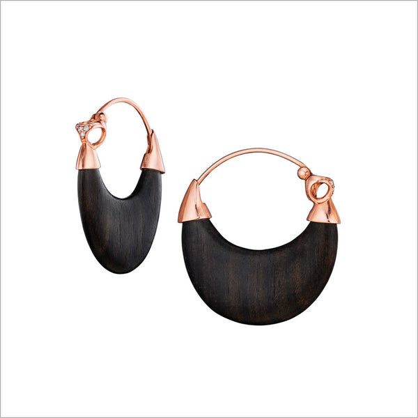 Sahara Wood & Diamond Earrings in Sterling Silver plated with 18k Rose Gold
