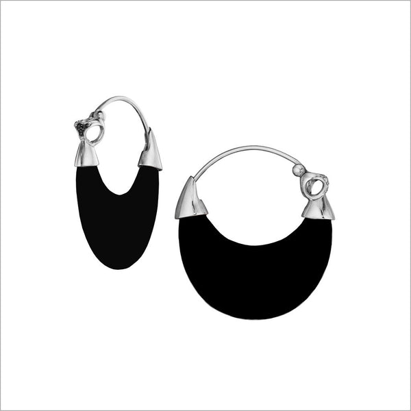 Sahara Black Onyx Earrings in Sterling Silver with Black Diamonds