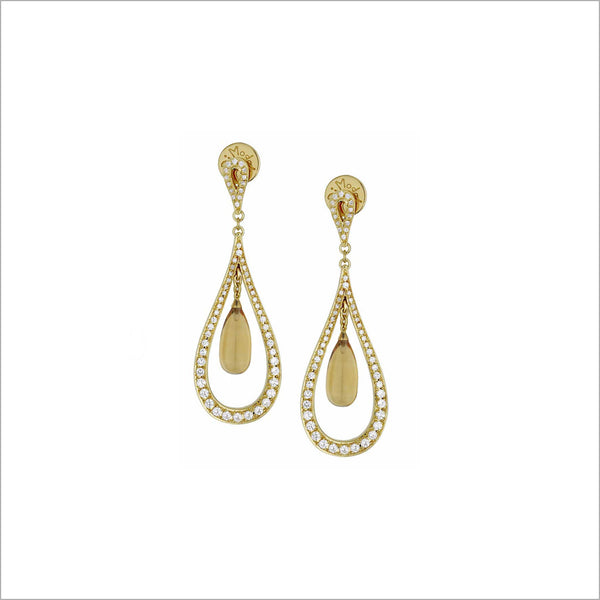 Fiamma 18K Gold Earrings with Citrine & Diamonds