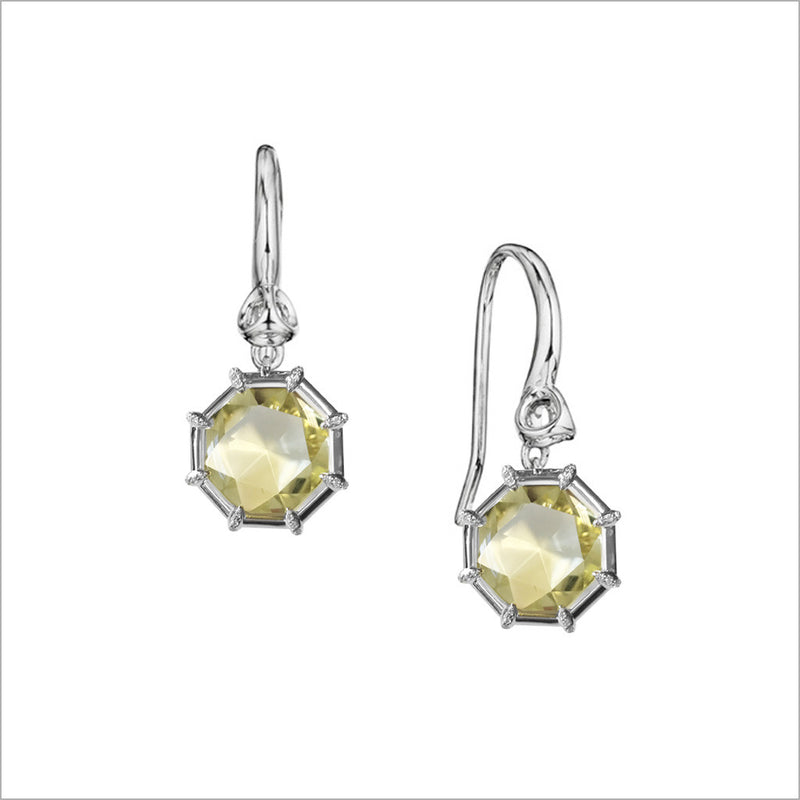 Icona Lemon Citrine Drop Earrings in Sterling Silver with Diamonds