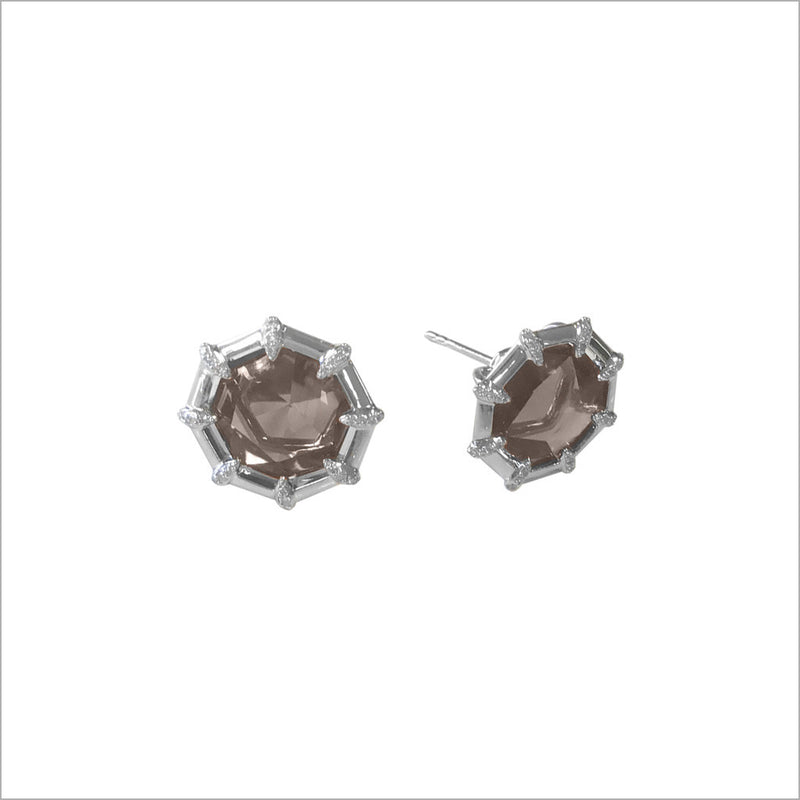 Icona Smoky Quartz and Diamond Studs in Sterling Silver