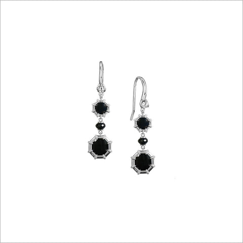 Icona Black Onyx Drop Earrings in Sterling Silver with Diamonds