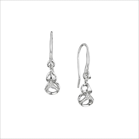 Linked By Love Sterling Silver Diamond Dangle Earrings