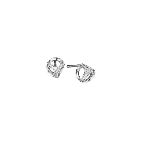 Linked By Love Sterling Silver Diamond Studs