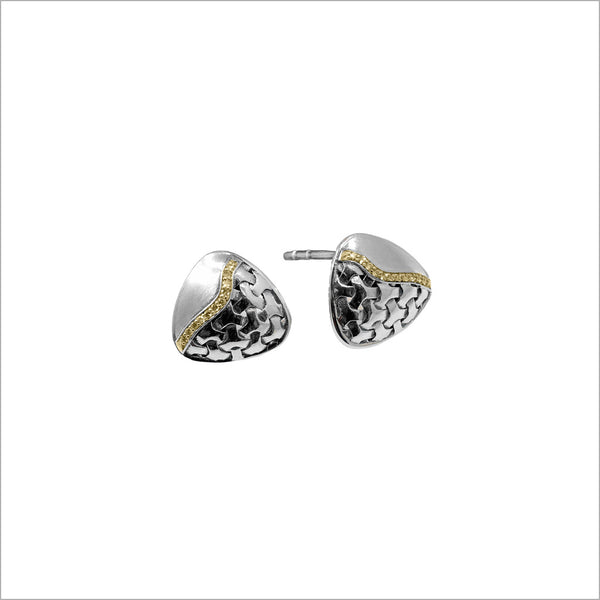 Ricamo Sterling Silver & 18k Yellow Gold Plated Stud Earrings