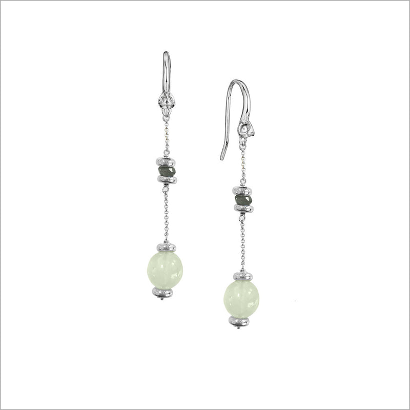 Icona Green Chalcedony Dangle Earring in Sterling Silver