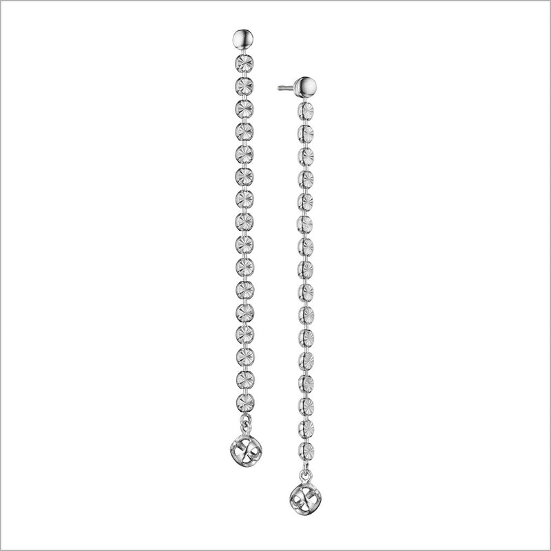Diamanté Sterling Silver Long Dangle Earrings