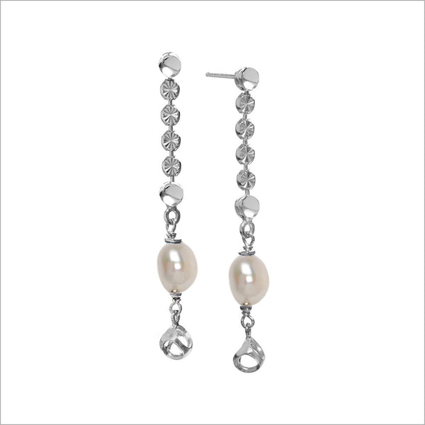 Diamanté Pearl Dangle Earrings in Sterling Silver