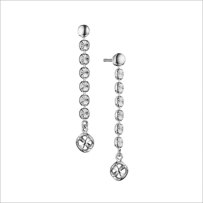 Diamanté Sterling Silver Dangle Earrings