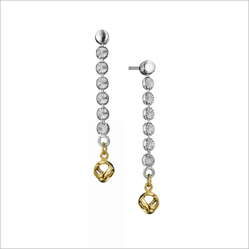 Diamanté 18K Gold Plated & Sterling Silver Earrings