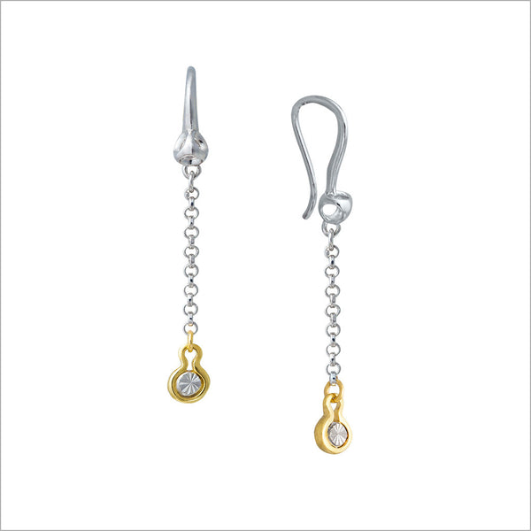 Diamanté 18K Gold & Sterling Silver Dangle Earrings