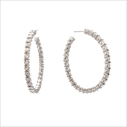Diamanté Sterling Silver Hoop Earrings