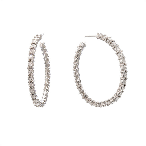 Diamante Sterling Silver Hoop Earrings